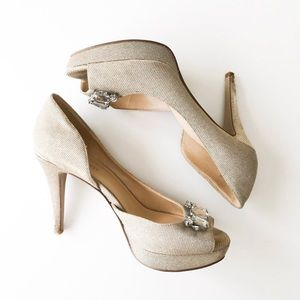 Nine West Courtship Gold Glitter Heels